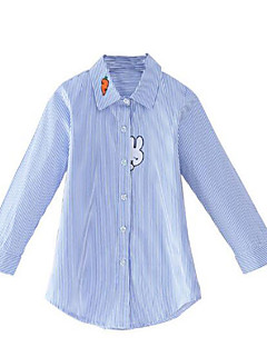 cheap Girls' Clothing-Girls' Daily Striped Shirt, Cotton Rayon Spring Fall Long Sleeves Simple Casual Blue