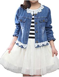 billige Tøjsæt til piger-Pige Tøjsæt Daglig Ferie Ensfarvet Stribet Blomstret, Bomuld Polyester Forår Efterår Kortærmet Langærmet Simple Aktiv Blå