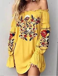 cheap Women's Dresses-Women's Plus Size Holiday Puff Sleeve Cotton Shift Dress - Floral, Print Mini Off Shoulder