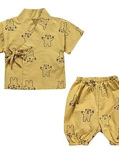 billige Undertøj og sokker til piger-Unisex Daglig Geometrisk Nattøj, Bomuld Hør Forår Sommer Kortærmet Sødt Hvid Gul
