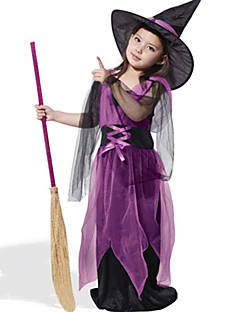 billige Halloweenkostymer-Trollmann / heks Cosplay Kostumer Barne Halloween Festival / høytid Drakter Lilla Mote