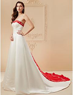 Χαμηλού Κόστους Δοκιμάστε το στο σπίτι-Δείγμα προϊόντος Γραμμή Α Στράπλες Πολύ μακριά ουρά Σατέν Φορέματα γάμου φτιαγμένα στο μέτρο με Χάντρες / Κέντημα με LAN TING BRIDE®