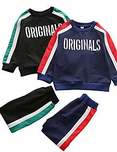 billige Tøjsæt til drenge-Drenge Tøjsæt Daglig Geometrisk Farveblok, Polyester Forår Langærmet Simple Sort Navyblå