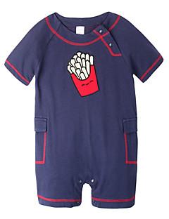 billige Babytøj-Baby Unisex En del Daglig Ferie Patchwork, Bomuld Forår Sommer Kort Ærme Simple Aktiv Grøn Gul Marineblå