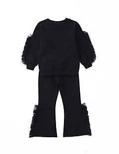 billige Tøjsæt til piger-Pige Tøjsæt Daglig Sport Ensfarvet Patchwork, Bomuld Polyester Forår Efterår Langærmet Simple Afslappet Blå Sort