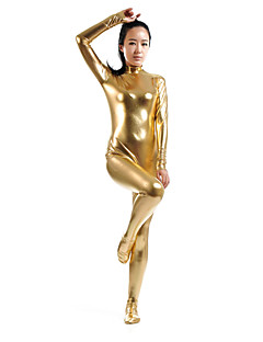 billige Zentai-Zentai Drakter Ninja Zentai Cosplay-kostymer Gylden Ensfarget Zentai Spandex Lim Herre Dame Halloween Maskerade