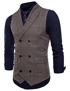 cheap England Retro Style-Men's Daily / Holiday Active Spring / Fall Plus Size Regular Vest, Plaid Fantastic Beasts Shirt Collar Sleeveless Polyester Brown / Dark Gray / Light gray XXL / XXXL / 4XL / Slim