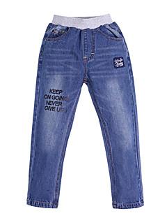 tanie Odzież dla chłopców-Spodnie Bawełna Poliester Spandeks Dla chłopców Codzienny Urlop Nadruk Wiosna Lato Prosty Niebieski