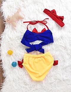 billige Badetøj til piger-Pige Sexet Patchwork Badetøj, Bomuld Spandex Uden ærmer Marineblå