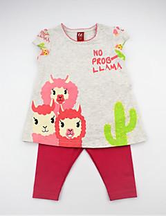 billige Tøjsæt til piger-Pige Tøjsæt Daglig Blomstret Dyretryk Farveblok, Bomuld Sommer Kortærmet Sødt Aktiv Rosa