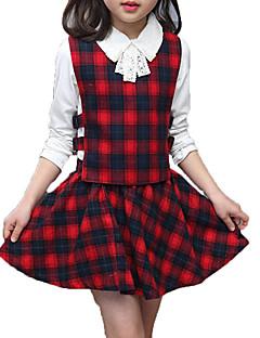billige Tøjsæt til piger-Pige Tøjsæt Daglig Ferie Ensfarvet Ternet, Bomuld Polyester Forår Efterår Langærmet Simple Aktiv Grøn Rød
