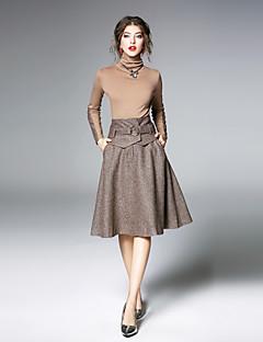 ieftine Costum Damă Două Bucăți-Pentru femei Set - Culoare solidă, Fustă Culoare pură Guler Pe Gât