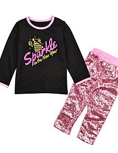 billige Tøjsæt til piger-Pige Daglig Ensfarvet Tøjsæt, Bomuld Polyester Forår Sommer Langærmet Sødt Aktiv Lyserød
