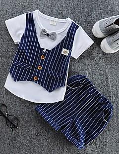 billige Tøjsæt til drenge-Drenge Tøjsæt Daglig Stribet, Bomuld Sommer Kortærmet Afslappet Rød Navyblå