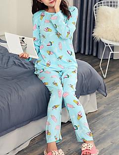 tanie Piżamy-Damskie Kołnierzyk koszuli Kostiumy Piżama Geometryczny