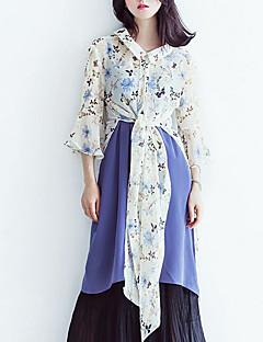 billige Skjorte-Dame-Blomstret Trykt mønster Basale Skjorte