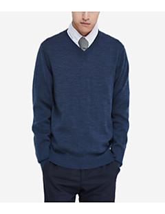 tanie Męskie swetry i swetry rozpinane-Męskie W serek Pulower Jednolity kolor Długi rękaw
