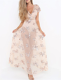 baratos Vestidos de Mulher-Mulheres Boho Solto Vestido - Paetês, Floral Decote V Cintura Alta Longo