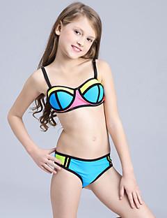 billige Badetøj til piger-Pige Sødt Aktiv Farveblok Badetøj, Nylon Uden ærmer Blå Grøn Orange Rød Lyserød