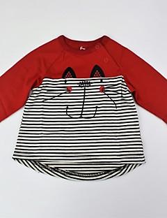 billige Pigetoppe-Unisex T-shirt Daglig Dyretryk Farveblok, Bomuld Sommer Langærmet Afslappet Aktiv Sort Rød