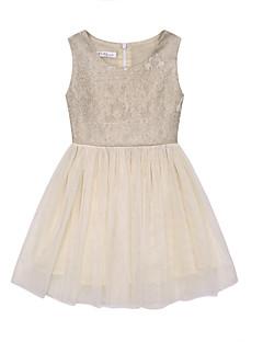 tanie Odzież dla dziewczynek-Sukienka Bawełna Len Włókno bambusowe Akryl Dziewczyny Codzienny Jendolity kolor Wiosna Bez rękawów Prosty Gold