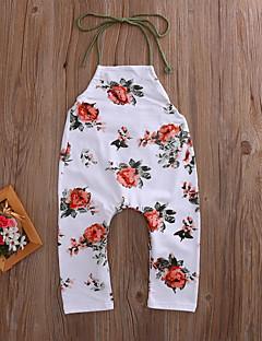 billige Babytøj-Baby Pige Overall og jumpsuit I-byen-tøj Ferie Blomstret, Polyester Forår Sommer Uden ærmer Gade Boheme Beige
