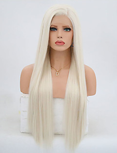 cheap -Synthetic Lace Front Wig Women's Straight Blonde Synthetic Hair Natural Hairline Blonde Wig 24 inch / 26 inch / Long Lace Front Platinum Blonde