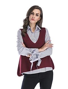 tanie Swetry damskie-Damskie Głęboki dekolt w serek Pulower Solid Color Bez rękawów