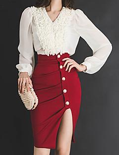 お買い得  レディースツーピースセット-女性用 ストリートファッション プラスサイズ コットン フレアスリーブ シャツ - プリーツ, ソリッド スカート
