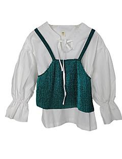 billige Pigetoppe-Pige Bluse Daglig Farveblok, Akryl Polyester Forår Langærmet Simple Army Grøn