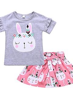 billige Tøjsæt til piger-Pige Daglig Ferie Trykt mønster Tøjsæt, Bomuld Forår Sommer Kortærmet Sødt Lyserød