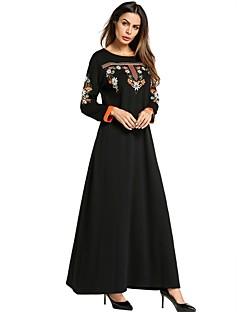 Χαμηλού Κόστους Καφτάνι-Γυναικεία Μπόχο Φαρδιά Φόρεμα - Συμπαγές Χρώμα, Κεντητό Μακρύ Μαύρο