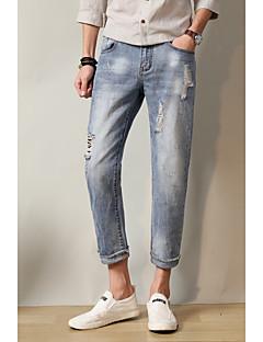 billige Herrebukser og -shorts-menns vanlige midje stige mikro elastiske jeans bukser, vintage solid bomull sengetøy bambus fiber akryl vinter