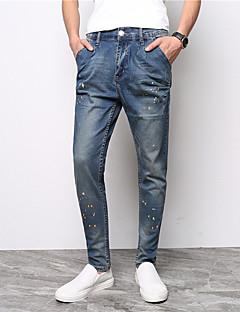billige Herrebukser og -shorts-menns vanlige midterstige mikro elastiske jeans bukser, vintage solid bomull sengetøy bambus fiber akryl våren