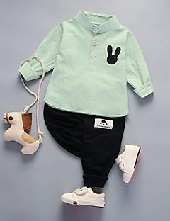 billige Tøjsæt til drenge-Unisex Tøjsæt Daglig I-byen-tøj Ensfarvet Ruder Jacquard Vævning, Bomuld Forår Efterår Langærmet Sødt Lyserød Lysegrøn