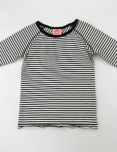billige Pigetoppe-Pige T-shirt Daglig Stribet Farveblok, Bomuld Forår Sommer 3/4-ærmer Afslappet Aktiv Sort