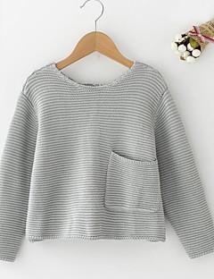 billige Sweaters og cardigans til piger-Pige Trøje og cardigan Daglig Ensfarvet, Polyester Forår Langærmet Simple Blå Rød Gul Rosa Lysegrå