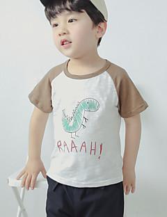 tanie Odzież dla chłopców-Dla chłopców Codzienny Urlop Nadruk T-shirt, Bawełna Poliester Lato Krótki rękaw Podstawowy Purple Khaki