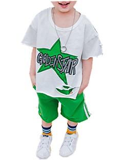 billige Tøjsæt til drenge-Drenge Daglig Trykt mønster Tøjsæt, Bomuld Forår Sommer Kortærmet Sødt Blå Grøn Rød