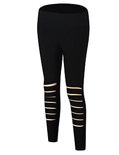 baratos Leggings para Mulheres-Mulheres Básico Legging - Sólido, Buraco Cintura Média / Primavera / Verão / Com Corte