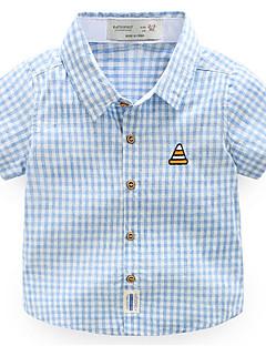 お買い得  男児 トップス-男の子 日常 祝日 チェック シャツ, コットン ポリエステル 夏 半袖 活発的 グリーン オレンジ ネイビーブルー ライトブルー