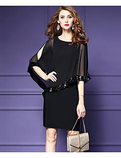 お買い得  レディースドレス-女性用 プラスサイズ お出かけ モダンシティ シフォン ドレス - スパンコール, 純色 膝丈