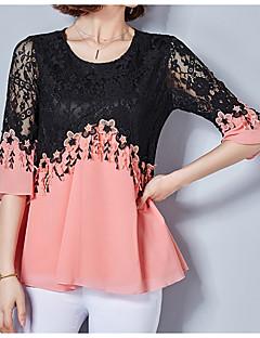 billige Overdele til damer-Dame - Ensfarvet Farveblok Blonder Basale Bluse