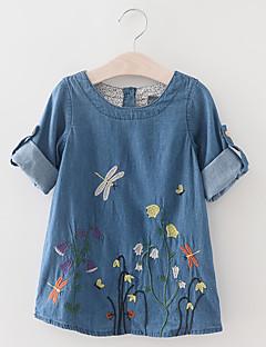 tanie Odzież dla dziewczynek-Sukienka Bawełna Dziewczyny Codzienny Urlop Kwiaty Wiosna Lato Krótki rękaw Vintage Aktywny Niebieski