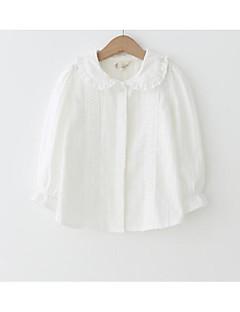 tanie Odzież dla dziewczynek-Dla dziewczynek Codzienny Jendolity kolor Koszula, Poliester Wiosna Długi rękaw Podstawowy White