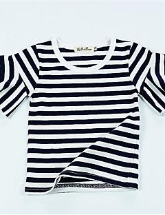 billige Pigetoppe-Pige Daglig Ferie Stribet T-shirt, Bomuld Sommer Kortærmet Aktiv Sort Lyserød