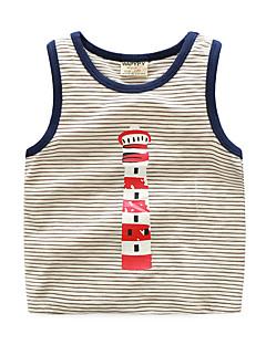 billige Overdele til drenge-Drenge Daglig Ensfarvet Undertrøje og cami-top, Bomuld Hør Bambus Fiber Akryl Forår Uden ærmer Vintage Blå Grå