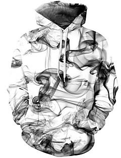 お買い得  アジアン気分-男性用 ストリートファッション / アジアン・エスニック パンツ - 幾何学模様 / 3D ホワイト / フード付き / 長袖 / 秋