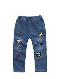 billige Bukser og leggings til piger-Blomstret Geometrisk Pigens Daglig Ferie Bomuld Polyester Forår Sommer Kjole Sødt Aktiv Blå