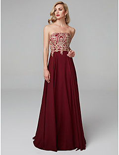 cheap Special Occasion Dresses-A-Line Strapless Floor Length Chiffon Prom / Formal Evening Dress with Appliques by TS Couture®